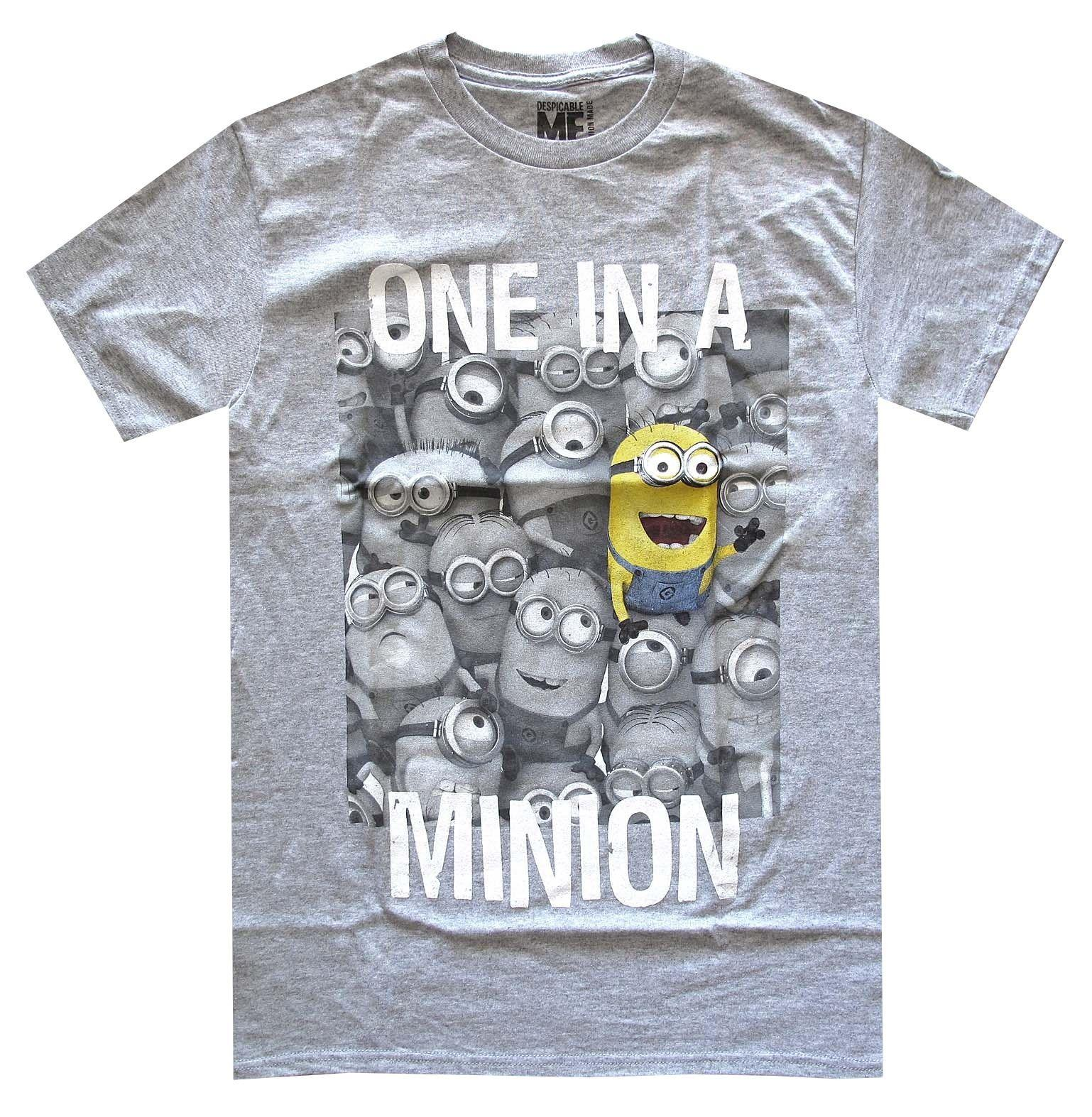 81229b697 Despicable Me One In A Minion Grey Heather Men's T-Shirt New wholesale 100%  cotton casual, printing short sleeve, men T shirt o-neck