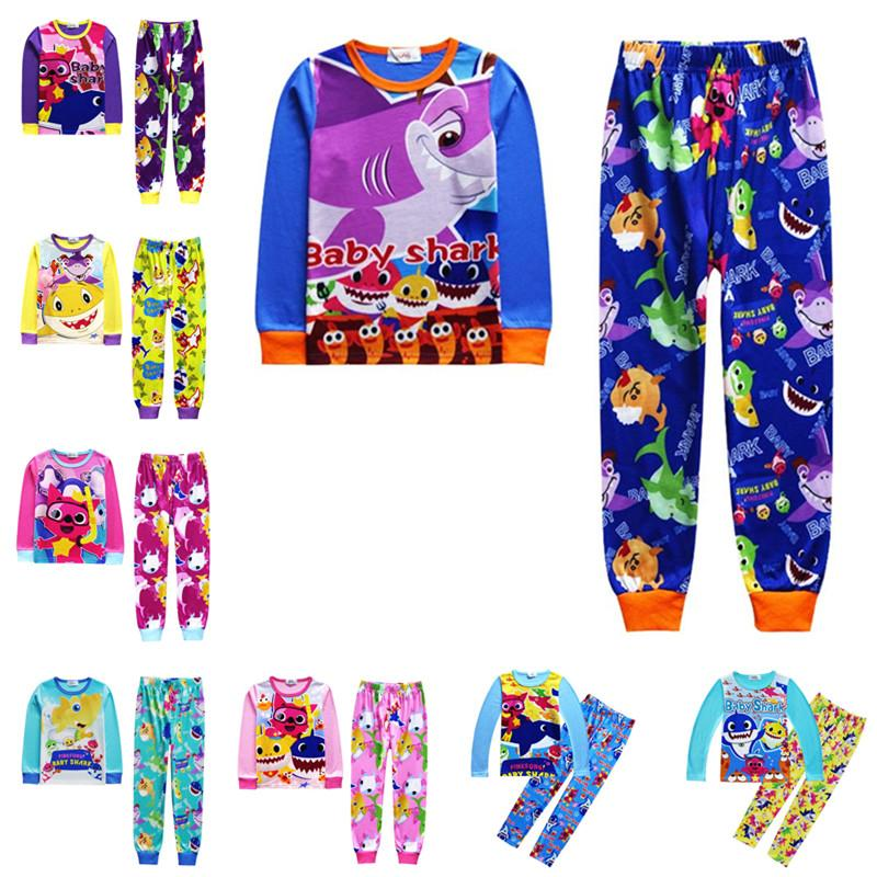 2019 Baby Shark Pajamas Set Kids Long Sleeve Cartoon Animal Print T shirt Pullover+Pants 2pcs Spring Outfits Nightwear 100-140cm 2-10T