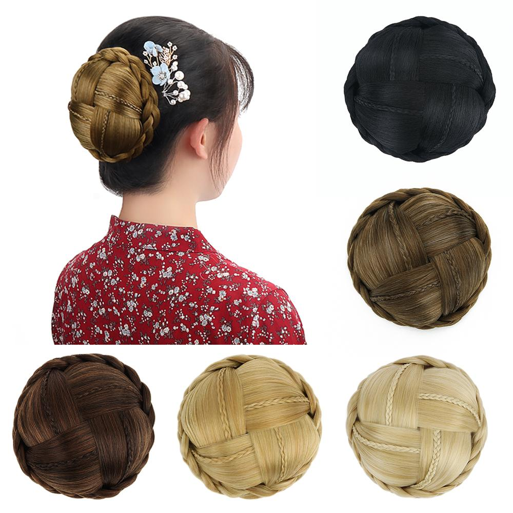 Synthetic Hair Braided Clip In Hair Bun Chignon Hairpiece Womens Donut Roller Bun Blonde Brown Black Heat Resistant