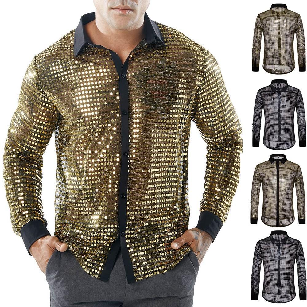 Compre Moda Mens Brilhante Pontos Camisas Clube Oco Camisas Transparentes  Magro Tops Homens Manga Longa Camisa De Vestido Camisa Masculina S 2XL DZ50  De ... c68cfe6b6eabc