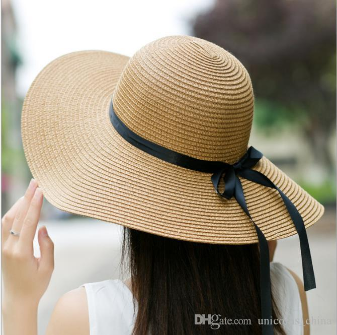 0ca8b7f6023 Woman Brim Sun Hat Floppy Foldable Bowknot Straw Hat Summer Beach ...