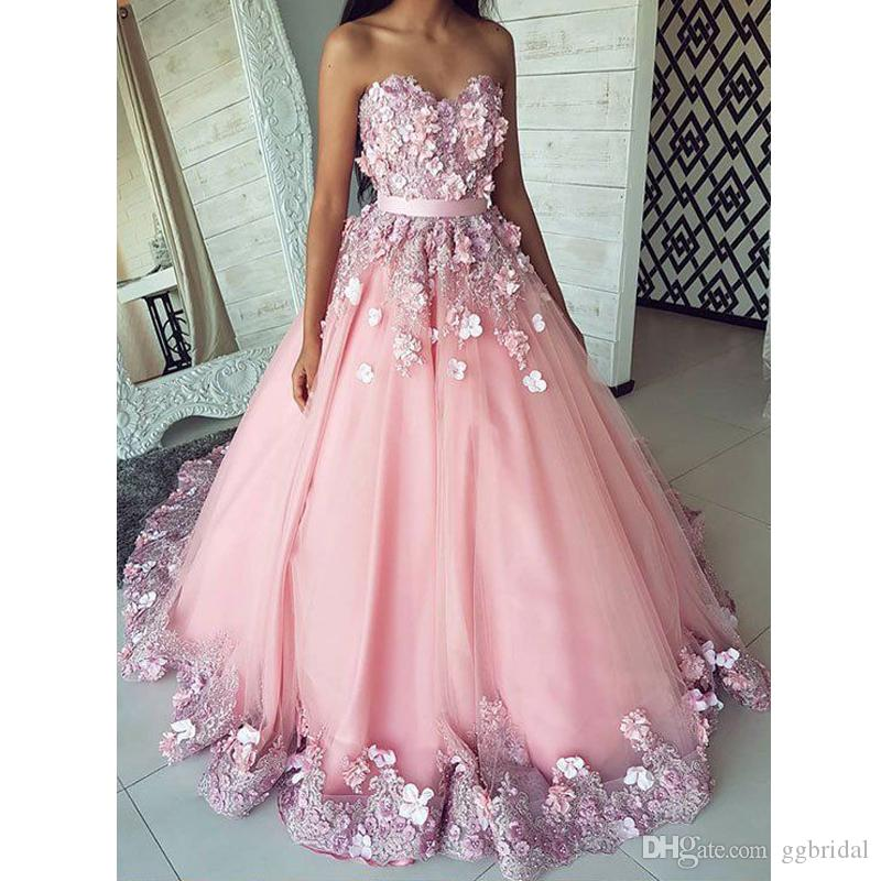 Lovely Blush Pink Sweetheart A Line Prom Dresses 2020 3D Flowers Lace Appliques Evening Prom Gowns Arabic Formal Dresses