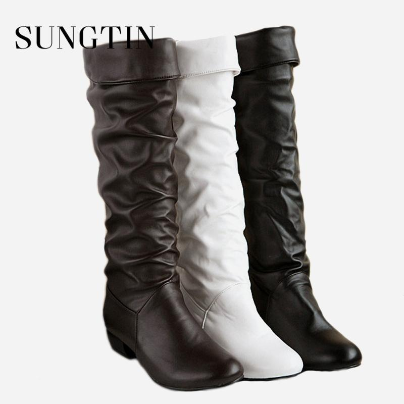 adad6ab4037 Sungtin 2019 Hot Sale Women PU Leather Knee High Boots Fashion Classic Flat  Boots Ladies Autumn Winter Shoes Basic Long Over The Knee Boots Cowgirl  Boots ...