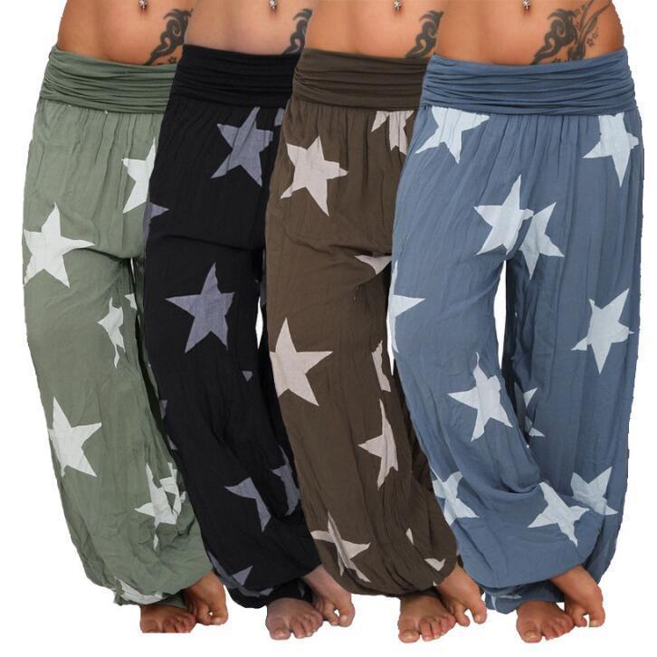 a12b3db093d Women Harem Trousers Drop Bottom Harem Pants with Drawstring Casual ...