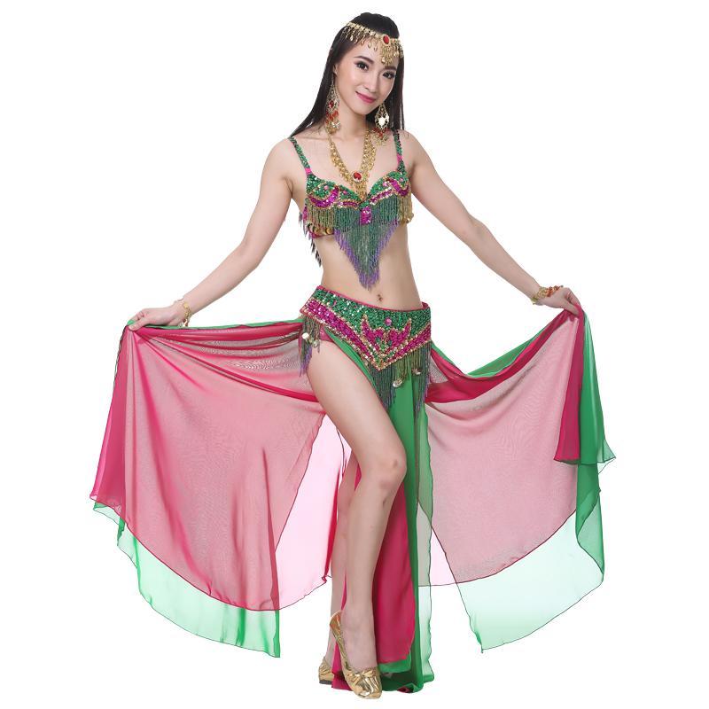 design moderno cercare quantità limitata Gonna Danza del ventre delle donne adulte per signora Doppio colore indiano  3 pezzi (reggiseno catena in vita gonna) per il set di danza del ventre ...