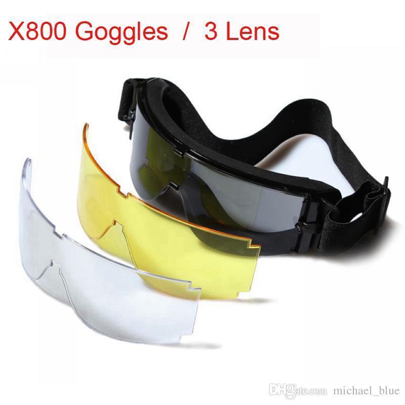 746cad58105bd Compre 3 Lentes X800 Óculos Táticos Exército Ao Ar Livre À Prova De  Nevoeiro À Prova De Vento Óculos De Sol Paintball Airsoft Caça Combate  Tático Óculos De ...