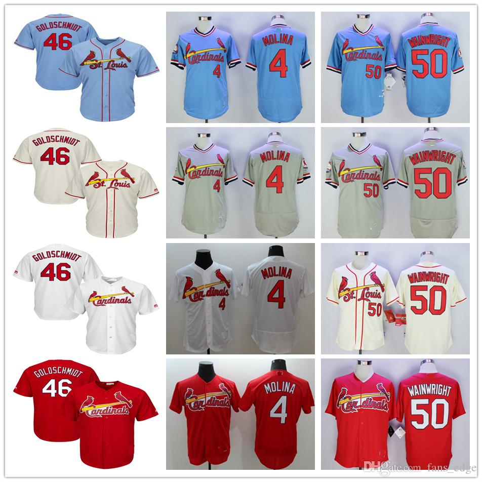 702a1d2f3 2019 2019 new st. louis cardinals 46 paul goldschmidt jersey 4 yadier  molina 50 adam