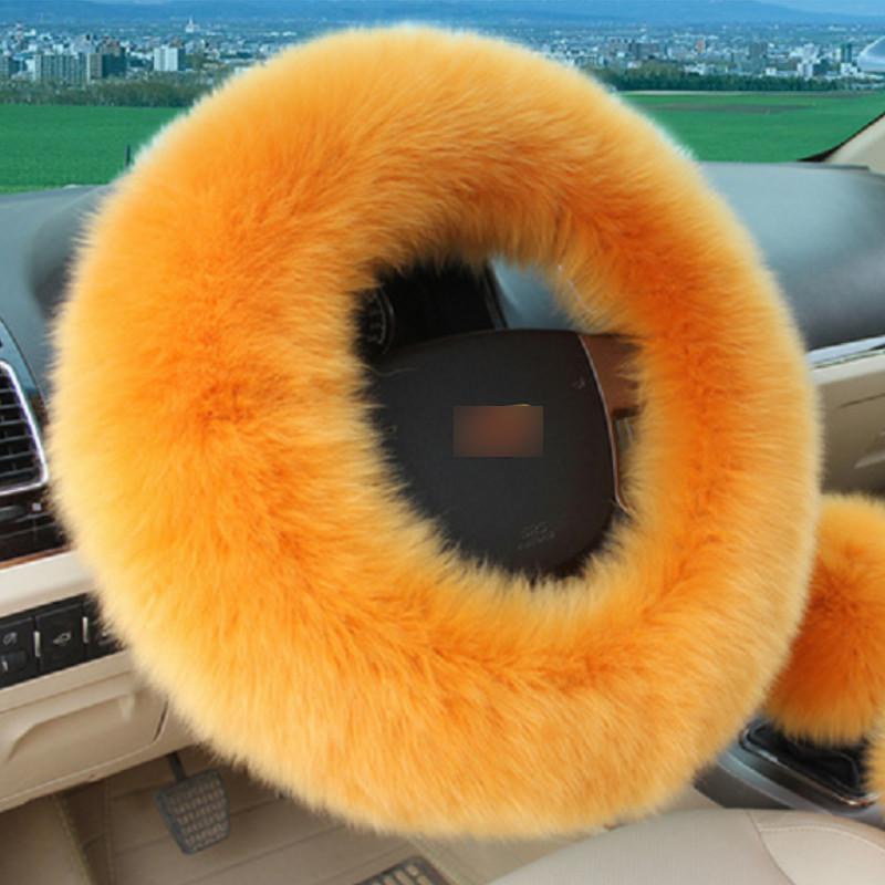 7 Цветов Шерстяной Плюшевый Пушистый Чехол Рулевого Колеса Фиолетовый Шерстяной Ручной Тормоз Автомобильный Аксессуар 3 Шт