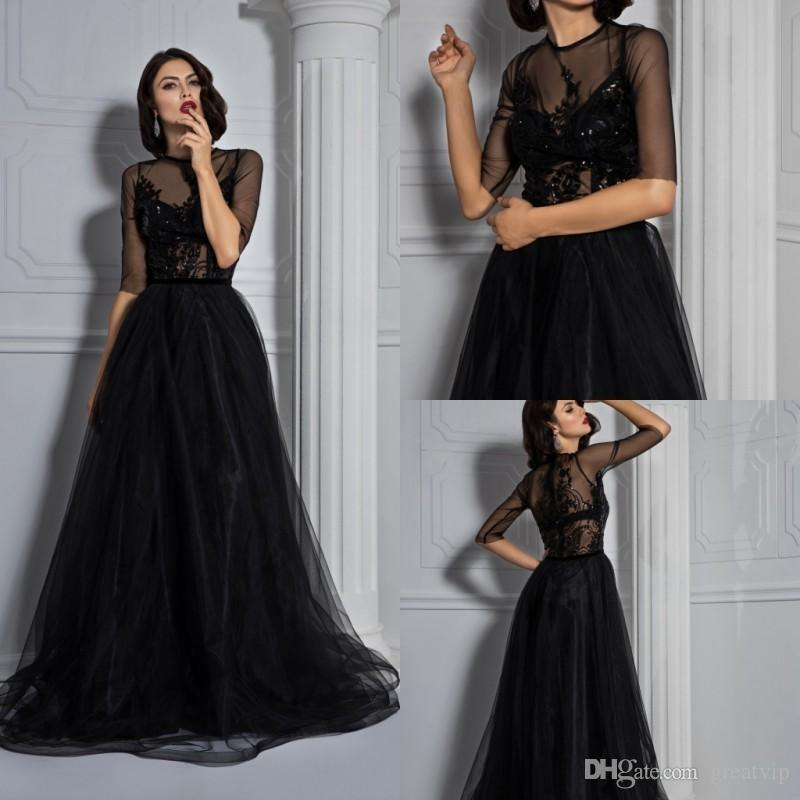 23639bf060 Black A Line Prom Dresses Jewel Half Sleeve Lace Sequins Tulle Sweep Train Evening  Gowns Plus Size Cheap Party Dress Vestidos De Fiesta Short Red Prom ...