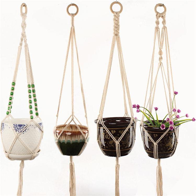 New Flower pot plant hanging rope indoor and outdoor net bag green hanging basket plant hanger hand woven balcony green facilities T3I5604