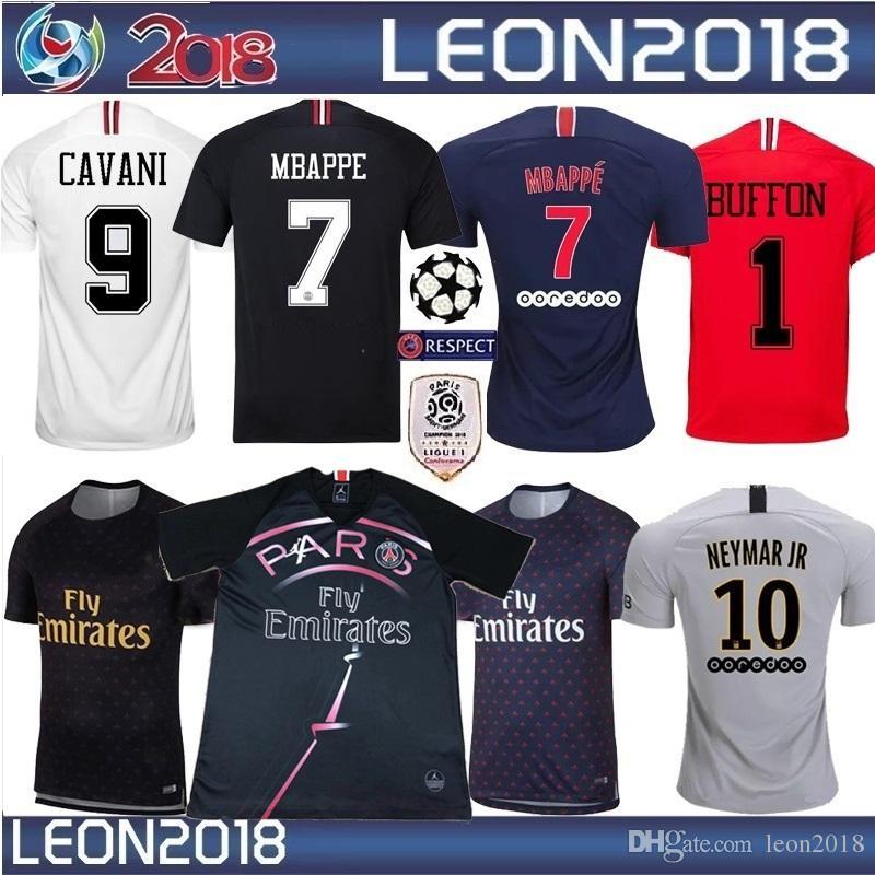 d0c3c9b71c Compre S XXL 2018 2019 PSG Camisa De Futebol 18 19 MBAPPE CAVANI Futebol  Jersey Shrit Preto Branco VERRATTI Maillot De Foot De Leon2018