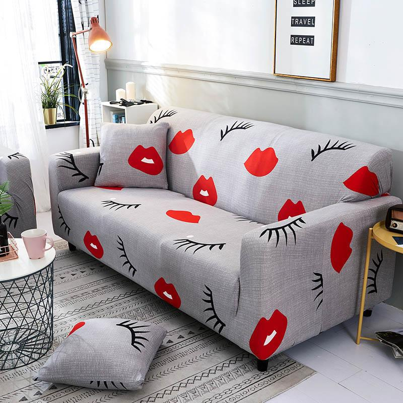Red lips Sofa Cover Elastic Cotton Wrap All-inclusive Sofa Covers for  Living Room Chair Couch Cover Loveseat Furniture Protector