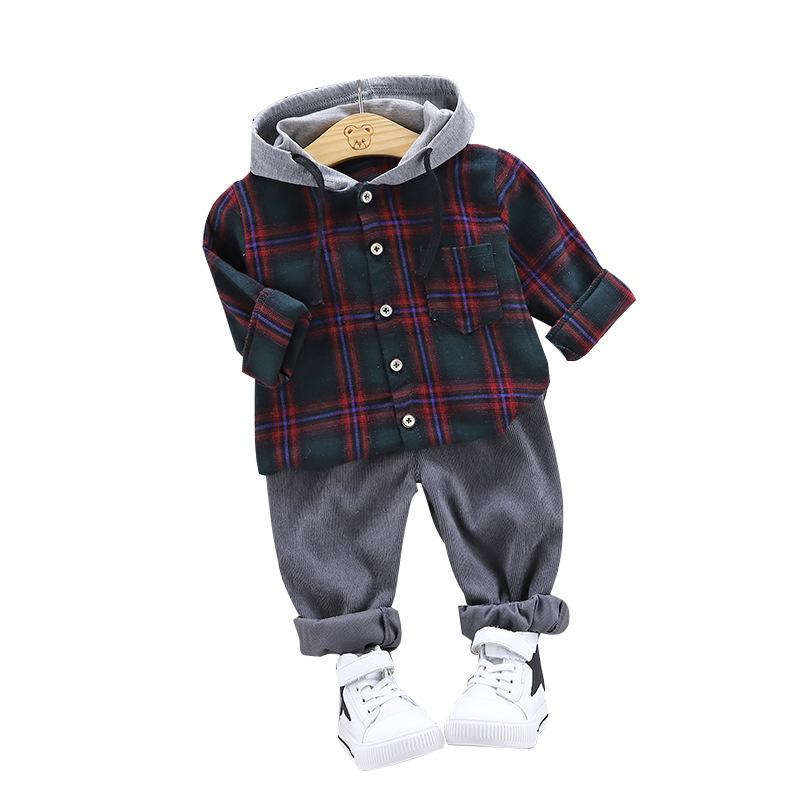 2019 New Spring Toddler Infant Clothes Suits Baby Boys Clothing Fashion Hooded Plaid Shirt Pants 2Pcs/Sets Kids Children Costume