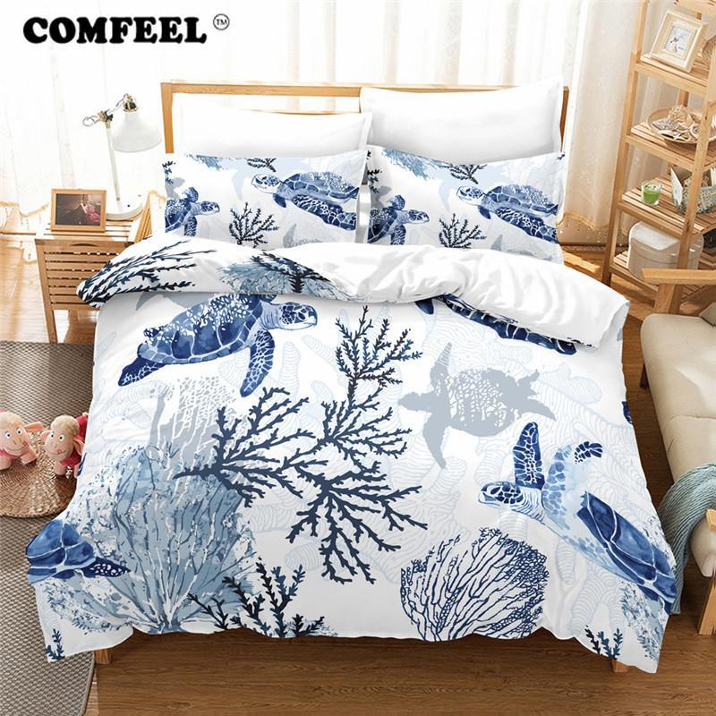 Marvelous COMFEEL 3D Sea Turtle Quilt Cover Sets Comforter Kids Boy Bedding Set  Luxury Cotton Us Size Bed Cover Pillows Case Home Textil Black Comforter  Sets Queen ...