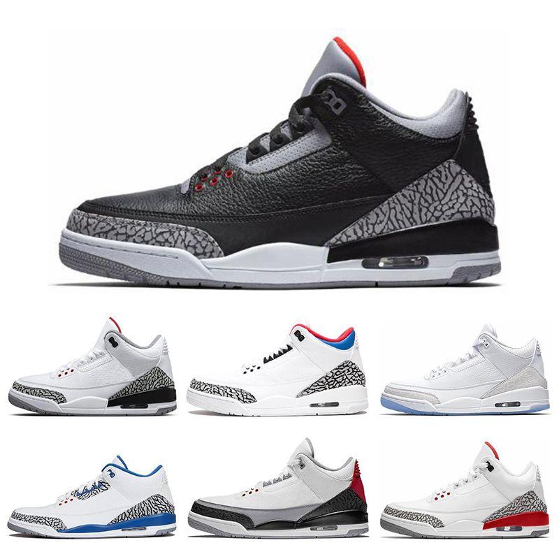 on sale 0b2cf 97aed Acheter Nike Air Jordan 3 3s Nouveau 3 3s Chaussures De Basket Ball  International Flight Black Cement Feu Rouge Ligne De Lancer Gratuite  Baskets De Sport ...