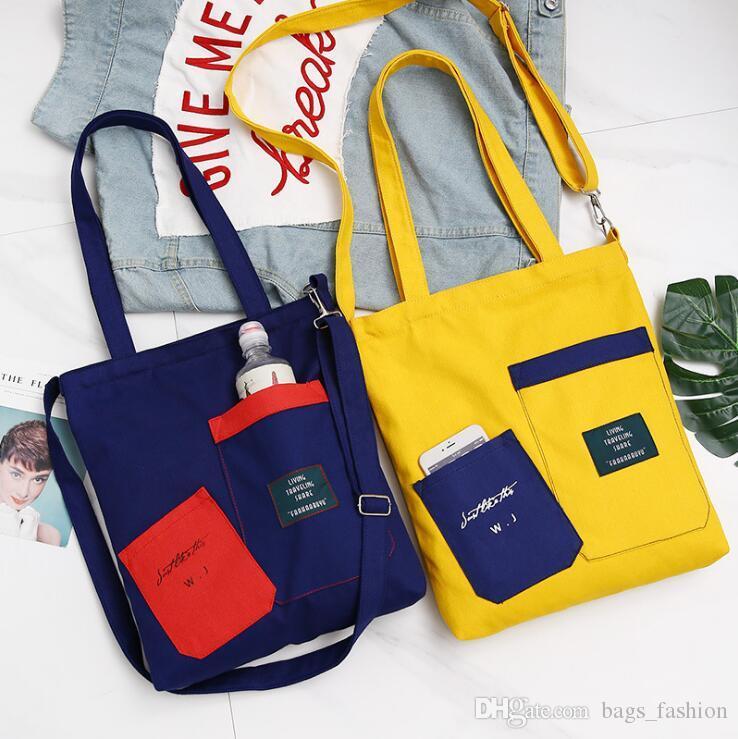 Sac à bandoulière Fashion Patchwork simple épaule Noir Jaune Sac de toile de chiffon Zipper réutilisable Eco Shopping Bag Livraison gratuite