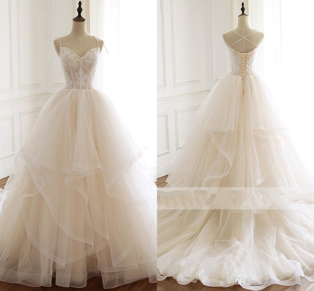 2019 Ruffles Ball Gowns Wedding Dresses Pleats Applique Spaghetti Criss  Cross Strap Backless Tiered Skirt Bridal Gowns Wedding Party Dress Plus  Size Wedding ... 692601b82d5b