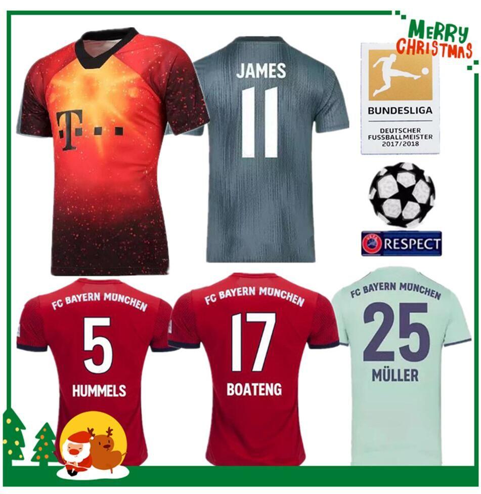 5e937604c1492 2018 2019 Bayern JAMES VIDAL RIBERY GOTZE SANCHES LAHM Camisetas Locales De  Munich 18 19 LEWANDOWSKI MULLER ROBBEN BOATENG ALABA Camisa Deportiva Por  ...