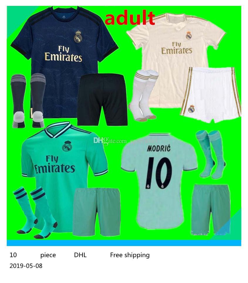 191cec9259 Compre 19 20 Novo Real Madrid Adulto Camisa De Futebol 2019 2020 Real Madrid  Adulto Jerseys BENZEMA SERGIO RAMOS KROOS 19 20 Camisas De Futebol Maillot  De ...