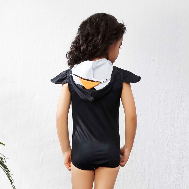 Çocuk mayo Bebek penguen yüzme suit 2018 Yeni kızlar Sevimli Fermuar siyah pembe Yüksek bel tek parça mayo
