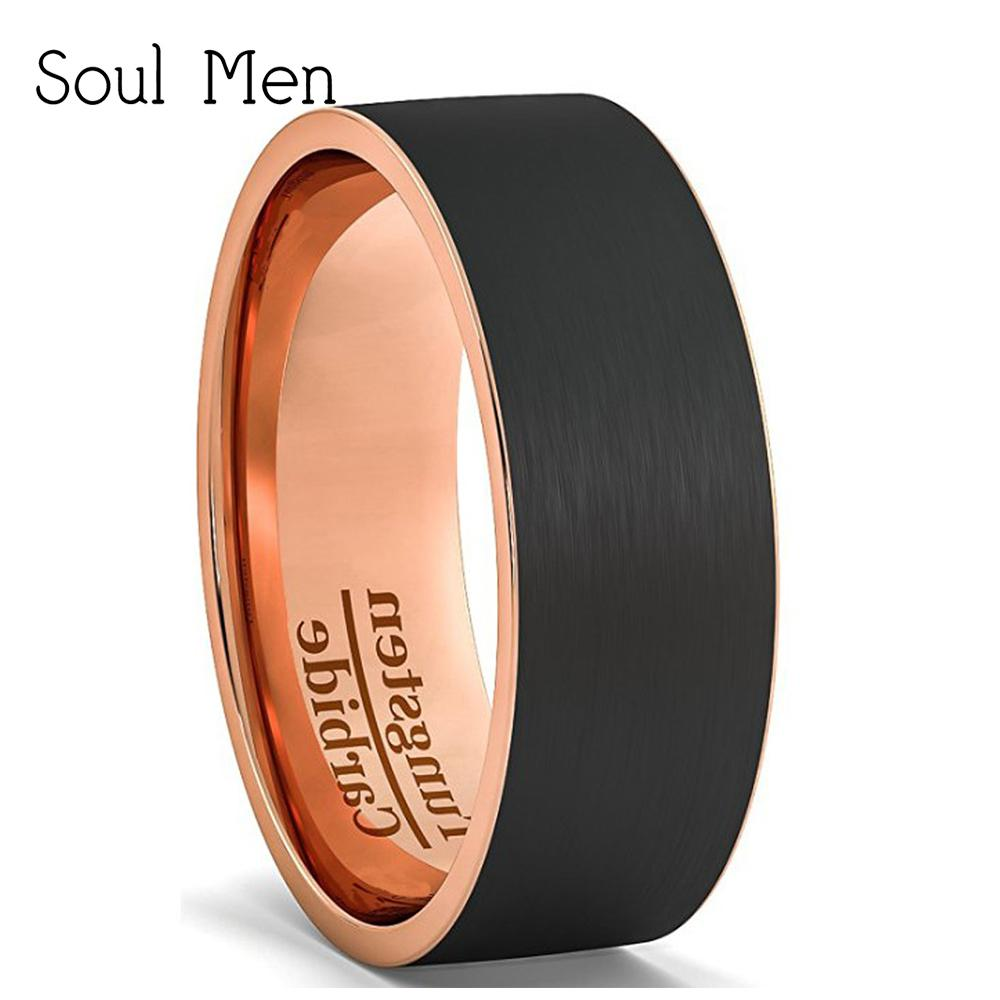Rose Gold Mens Wedding Band.Mens Wedding Band Black Rose Gold Color Cool Tungsten Wedding Ring Matte Surface Finish 8mm Comfort Fit Usa Sizes 6 5 12 5 D19011502