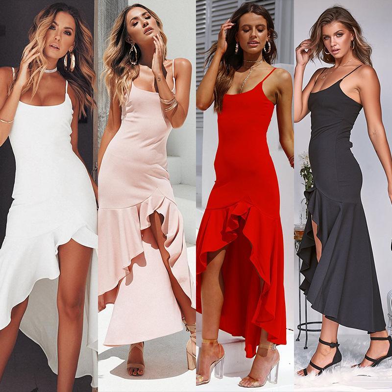 check out 106a7 2f195 Versuchen Sie alles Weiß Langes Kleid Frauen Party Sexy Sommer Lange  Kleider Damen Spagetti Strap Sommerkleid 2019 Baumwolle Rüsche