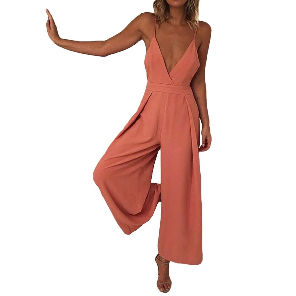 5bf34a39654c Sexy Women Romper Sleeveless Wide Leg Jumpsuit Deep V Neck Backless Bandage  Spaghetti Strap Wide Leg Pants Slim Playsuit Orange Online with   44.75 Piece on ...