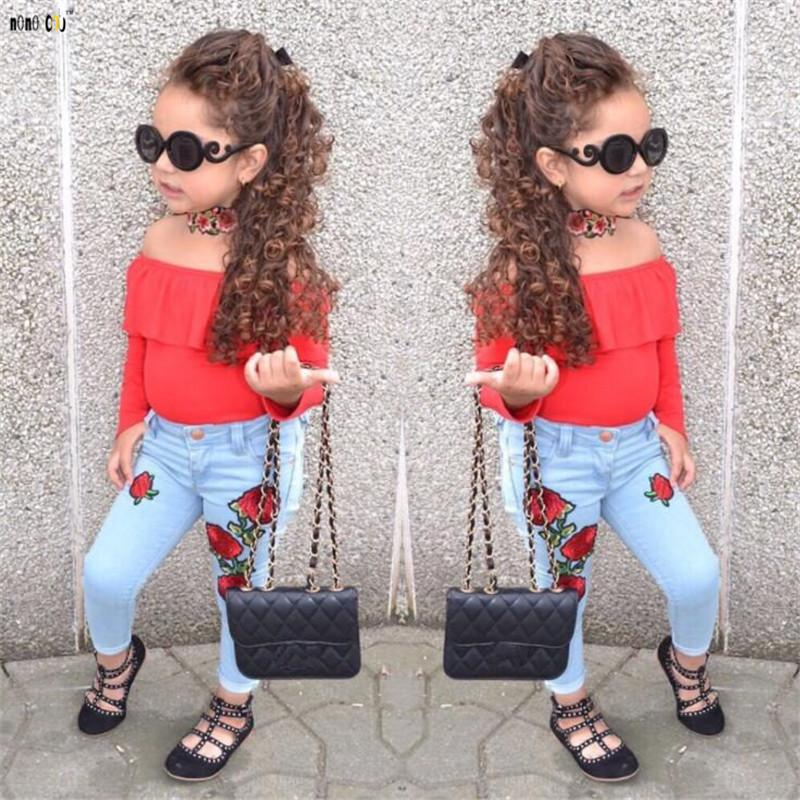473a15b9652db Spring Girls Outfits Kids Clothes Sets Two Piece Off Shoulder Tops & Denim  Pants Flower Print Girl Clothing 1 2 3 4 5 6 7
