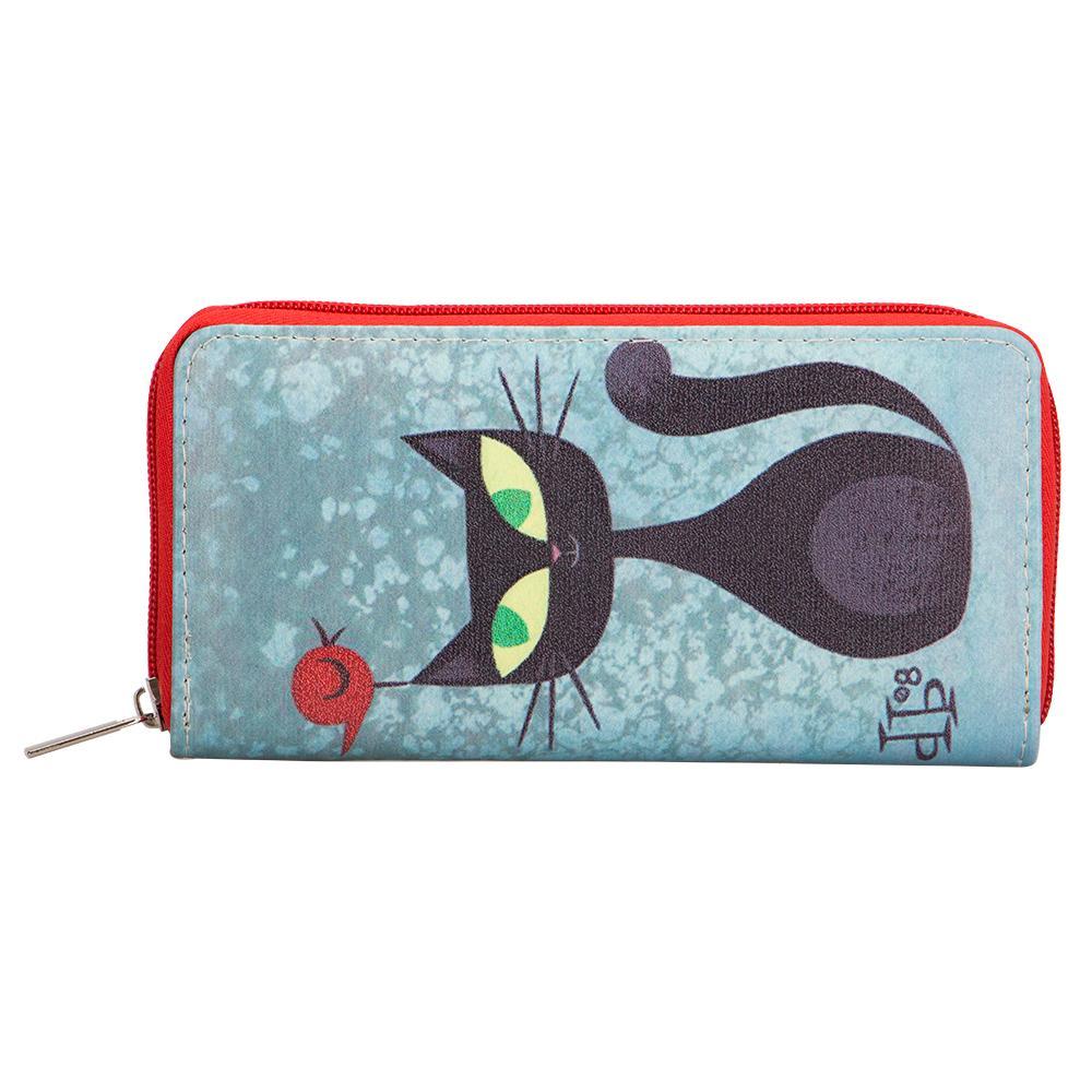 Sansarya Animals Lovely Cartoon Black Cats Printed Long Women Wallet Fashion Style PU Leather Zipper Card Holder Phone Purse