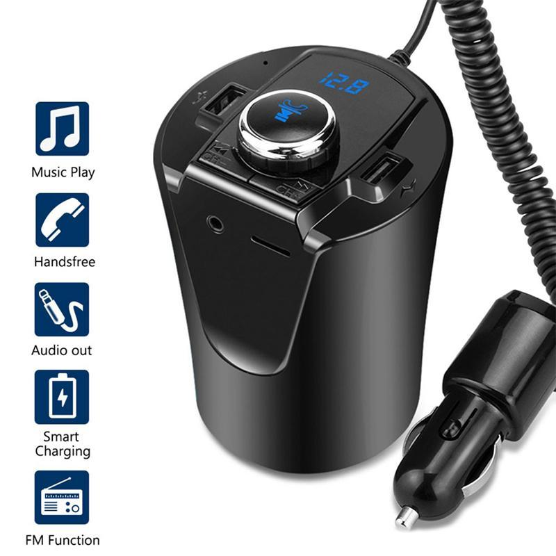 Car Bluetooth FM Transmitter Music Player Cup Holder Hands Free Calling Support U Disk TF Card Dual USB Port Charger Adapter