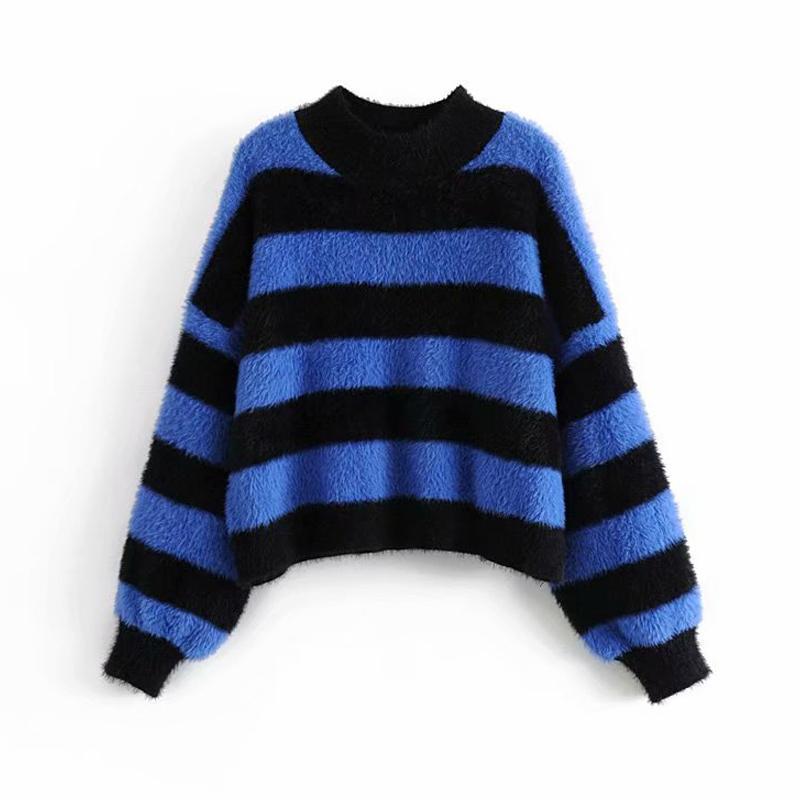 newest collection d3160 c92ac Frauen Striped Sweater Damen Dicke Warme Gestrickte Pullover Damen  Übergroßen Chic Blau Strick Koreanisch-Japanische Kleidung