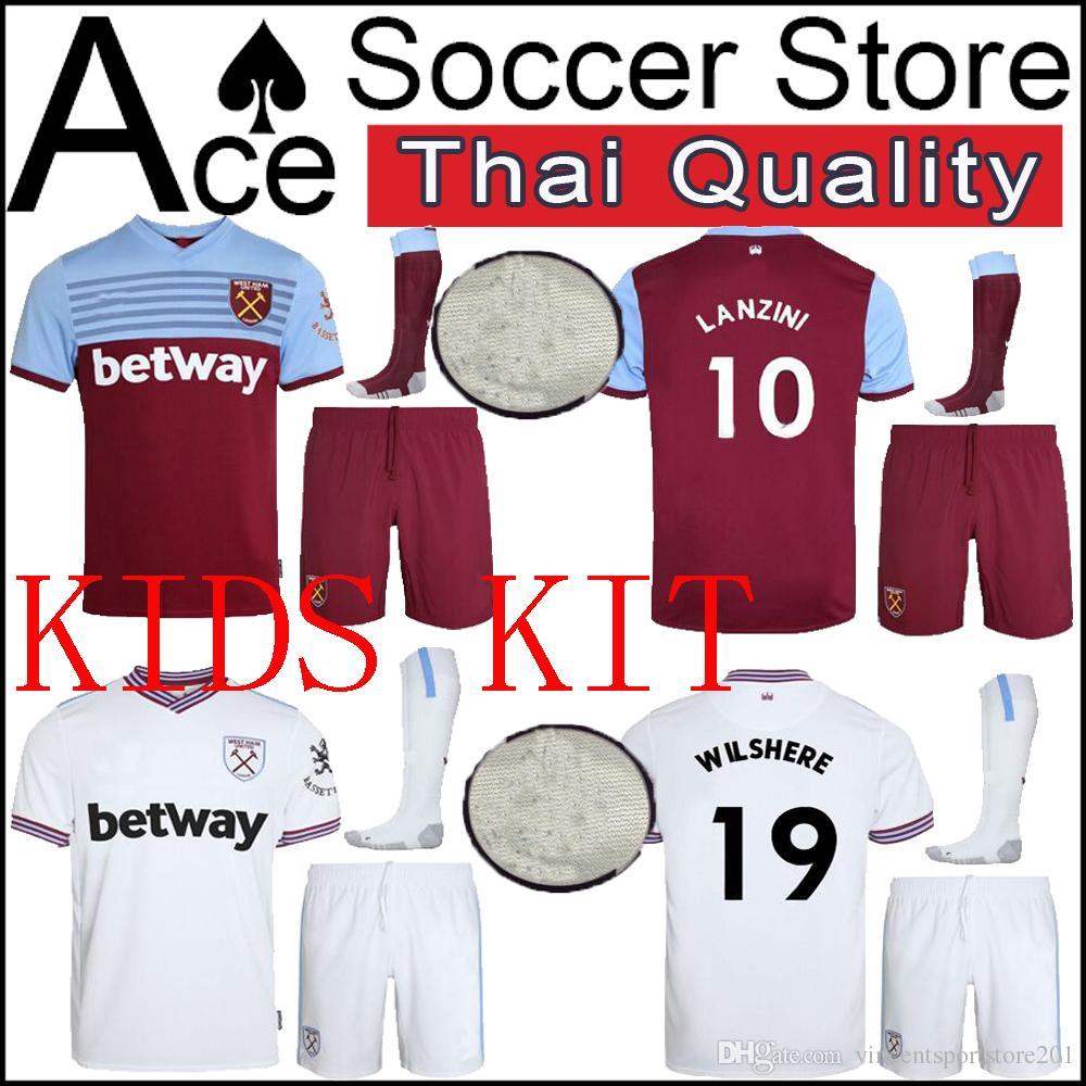 sports shoes f12b9 a7d14 West Ham kids kit soccer Jersey United 19 20 Home away white ARNAUTOVIC  F.ANDERSON LANZINI NOBLE CHICHARITO boy set 2019 Football shirt