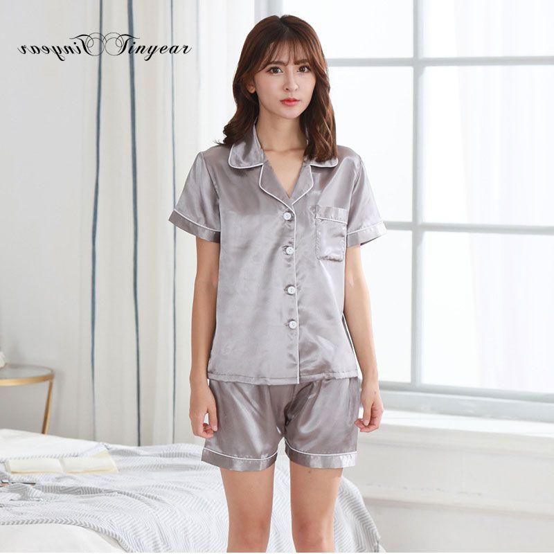 895bf5972e64 2019 Tinyear Grey Color Womens Sleepwear Pajama Set Soft Pajamas Summer  Sexy Sleep Pyjamas Shorts Set From Rosaling