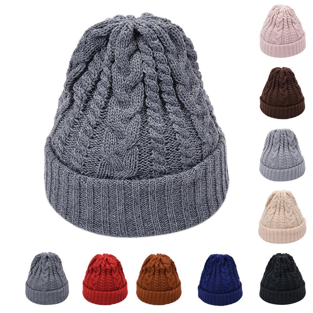 a48d74738b5 Fashion Women Men Solid Color Knited Headgear Beanie Tail Hat Cap Winter  Korean Style Hats Carhart Bonnet Femme Skullies   Beanies Cheap Skullies    Beanies ...