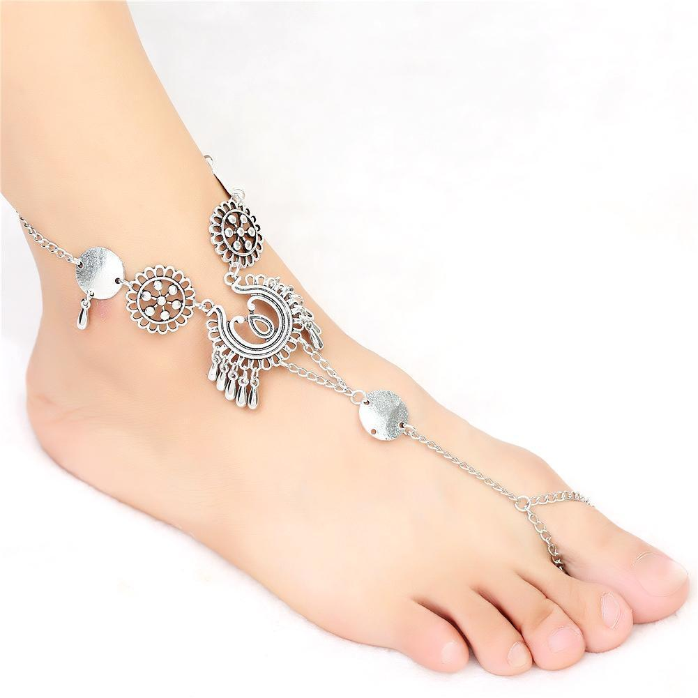 New Fashion Women Bohemian Vintage Style Hollow Fringed Barefoot Sandals Beach Anklet Fashion New Bohemian Anklet