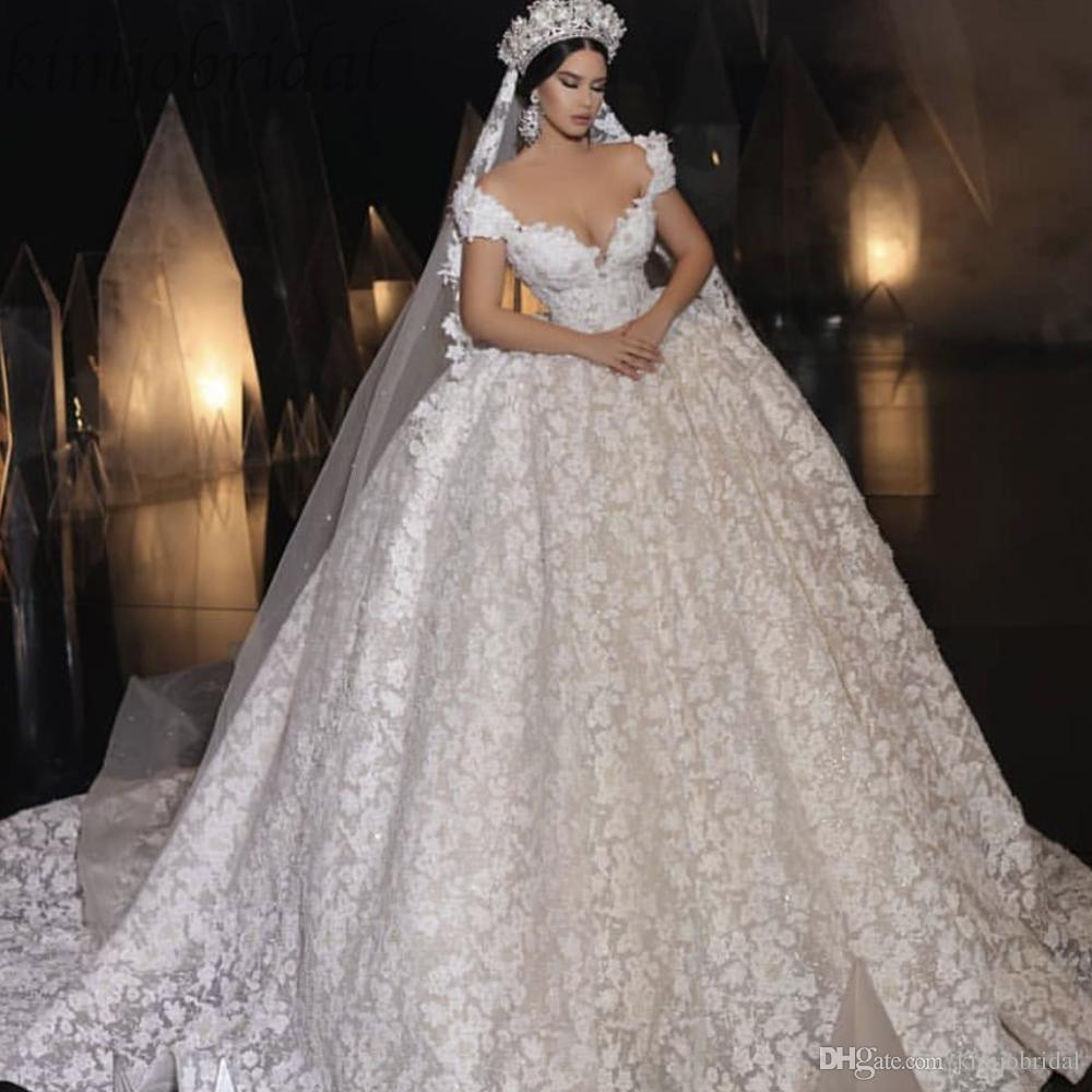 2019 Lace Wedding Dresses Sweetheart Neckline Cap Sleeve