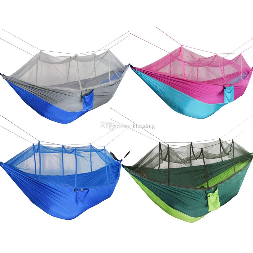 Mosquito Net Hammock 12 Colors 260*140cm Outdoor Parachute Cloth Field Camping Tent Garden Camping Swing Hanging Bed C6235