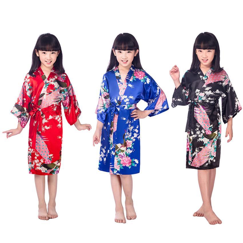 bea070e79b 2019 80 160cm Kids Girls Kimonos Dress Knee Length Satin Bath Robes Japanese  Traditional Costumes Vintage Sleep Pajamas Nightgown From Homedress