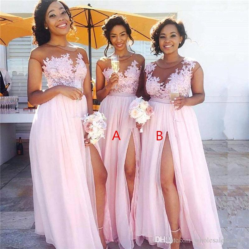 Baby Pink Neck Chffion Cheap Long Bridesmaid Dresses Sheer Mesh Top Lace Applique Split Floor Length Wedding Guest Maid Of Honor Dress BM014