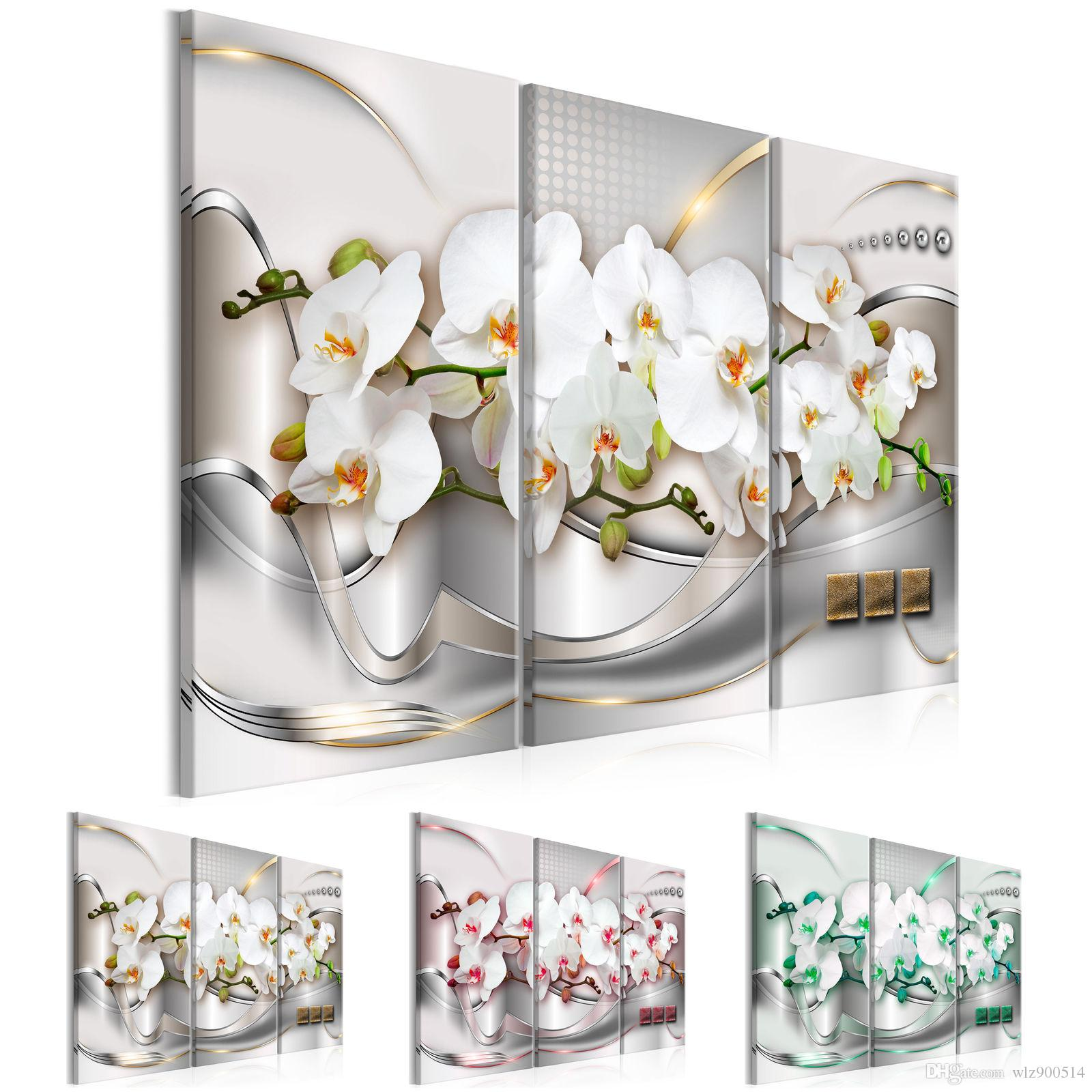 3 Piece Print Abstract Painting Canvas Wall Art Modern Orchid Flower Decoration Picture Beautiful Unframed ,Choose Color And Size
