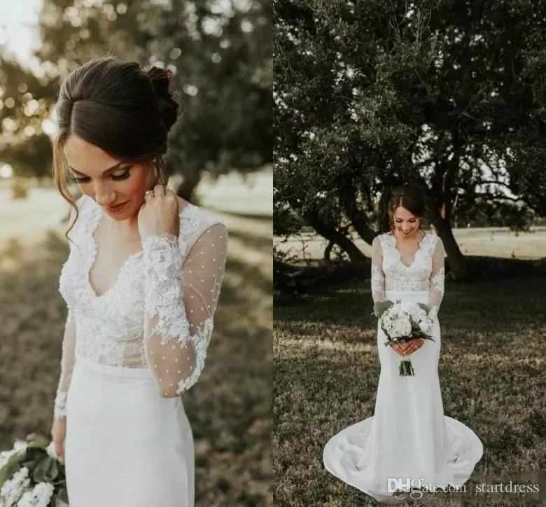 a37c9eb802 Beautiful Lace Mermaid Wedding Dresses Sexy V Neck Satin Long Train Beading  Sleeve Low Back Fall Country Bohemian Bridal Gowns Illusion Top Wedding  Dress ...