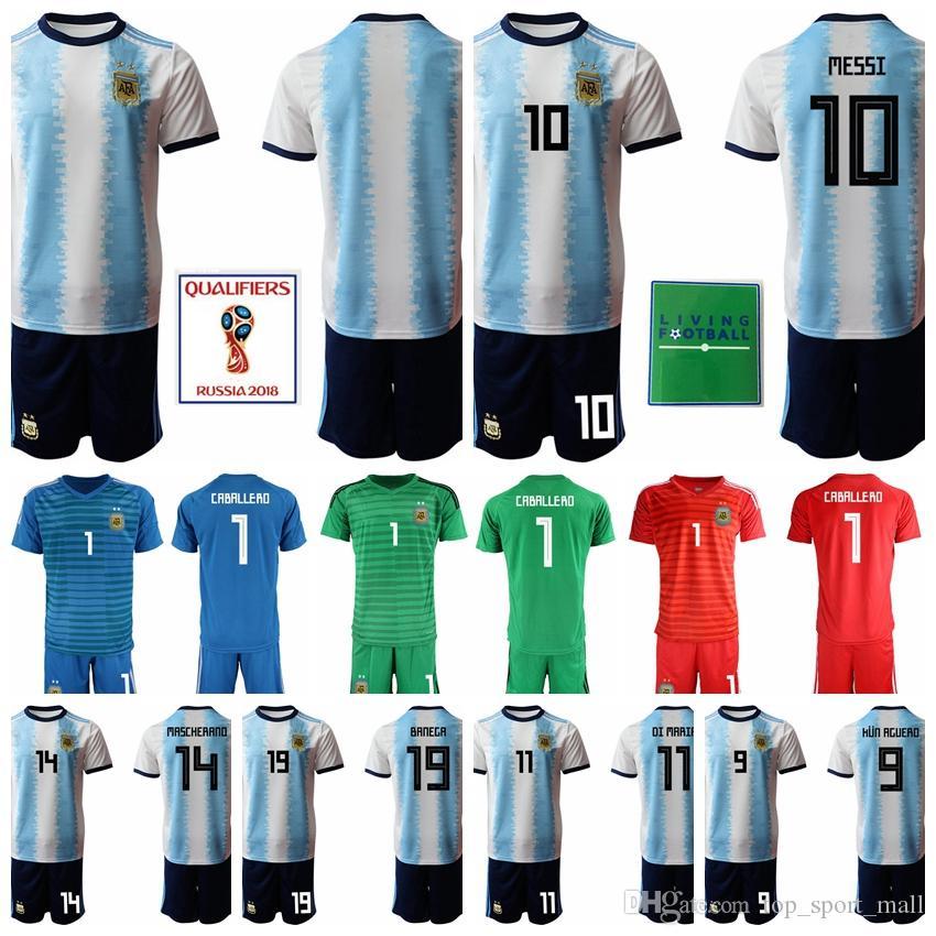 the latest b3d4c 9d661 Argentina Soccer 10 Lionel Messi Jersey Men Set 11 Angel Di Maria 14 Javier  Mascherano Football Shirt Kits Uniform Goalkeeper GK Home White