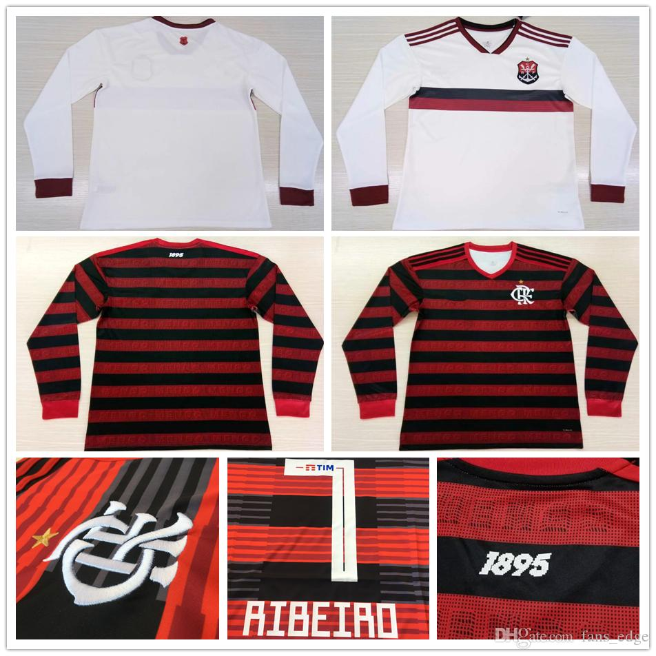 04910b6f76e 2019 19 20 Flamengo Long Sleeve Soccer Jersey GUERRERO 10 DIEGO RIBEIRO  VINICIUS JR Custom 2019 Flemish RJ Home Red Away White Football Shirts From  ...