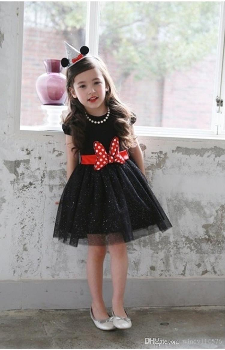 New 2019 Summer Holiday Dress For Children Black White Princess Evening Sequins Pink Girl 2 to 6 Years Outfit Wear XF96