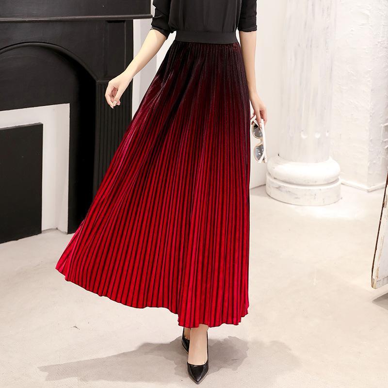 c0263ef10 Gradiente Negro Rojo Maxi Falda plisada Mujer Otoño Invierno 2018 Dama  Elegante Largo Velour Falda Preciosa Falda de Terciopelo Verde 2787LY