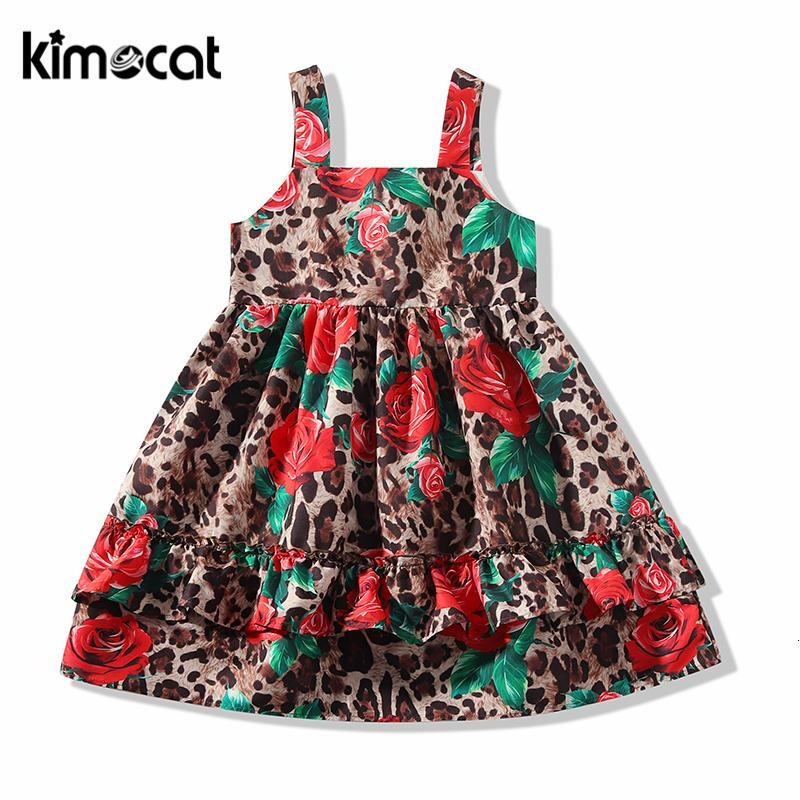Kimocat Bbay Girls Clothes Sleeveless Leopard Rose Princess Dress Sexy Summer Kids Dresses For Girls Party Children DressMX190912MX190912