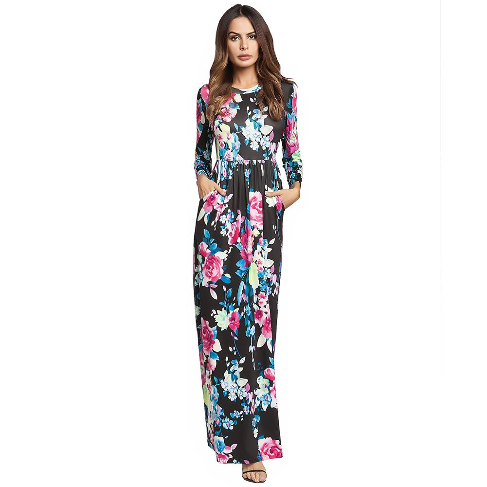 16c180f352a Vintage Long Sleeve Spring Summer Dress 2019 Casual Pockets Ankle Length  Long Dress Floral Pattern Women Fit And Flare Dress Floral Dress Online  Short And ...