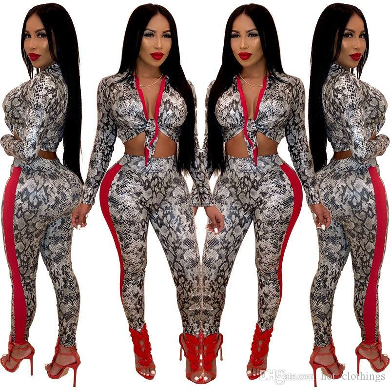 eb5ff1a804f4d 2019 2019 Women Snakeskin Print Tie Up V Neck Long Sleeve Crop Top Skinny  Pants Suits Two Piece Set Sexy Tracksuit From Hot clothings