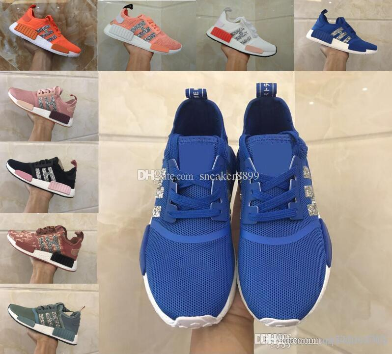 differently 1b2bf 8fb95 2018 new NMD R1 STLT PK Primeknit women sports shoes pink blue nmds super  promotions X casual shoes training shoes