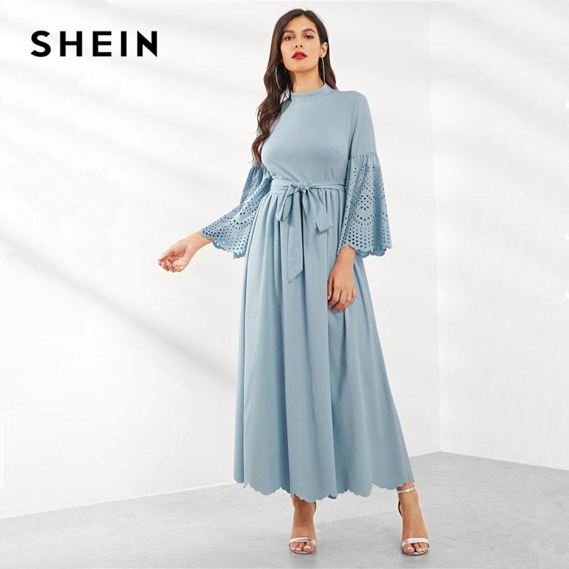 7424198b67 SHEIN Blue High Waist Belted Cutout Bell Sleeve Plain Women Dress Spring  Stand Collar Long Sleeve Solid Minimalist Maxi Dress Black Dress Women Buy  Party ...